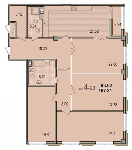 4-комнатная квартира на продажу (167,1 м<sup>2</sup>)
