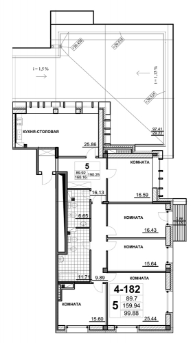 5-комнатная квартира на продажу (190,0 м<sup>2</sup>)