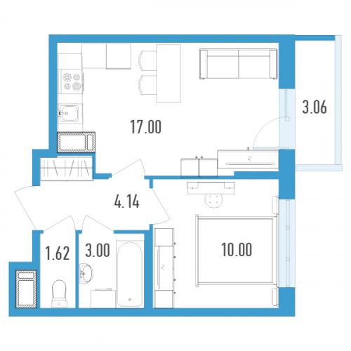 1-комнатная квартира на продажу (36,0 м<sup>2</sup>)