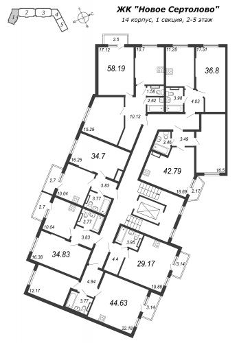 2-комнатная квартира на продажу (42,8 м<sup>2</sup>)