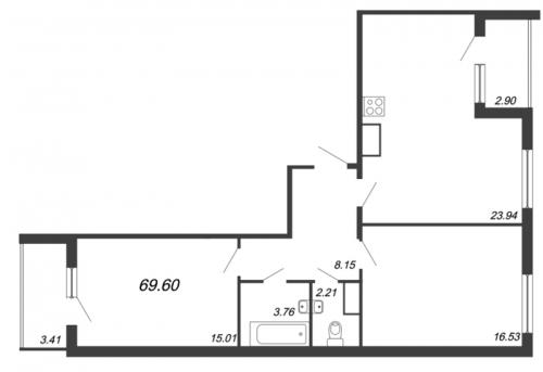 3-комнатная квартира на продажу (69,6 м<sup>2</sup>)