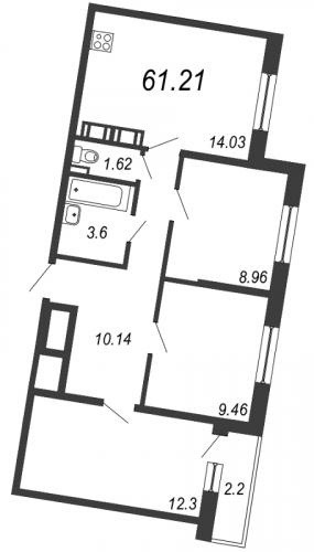 4-комнатная квартира на продажу (61,2 м<sup>2</sup>)