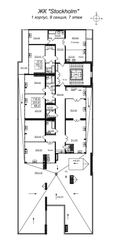 5-комнатная квартира на продажу (222,4 м<sup>2</sup>)
