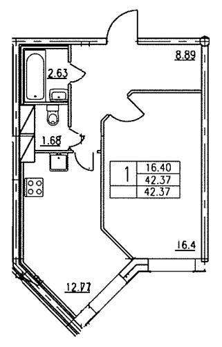 1-комнатная квартира на продажу (42,6 м<sup>2</sup>)
