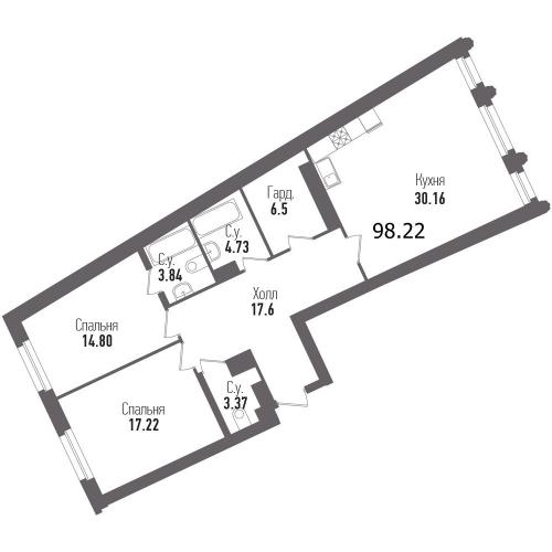 2-комнатная квартира на продажу (98,2 м<sup>2</sup>)