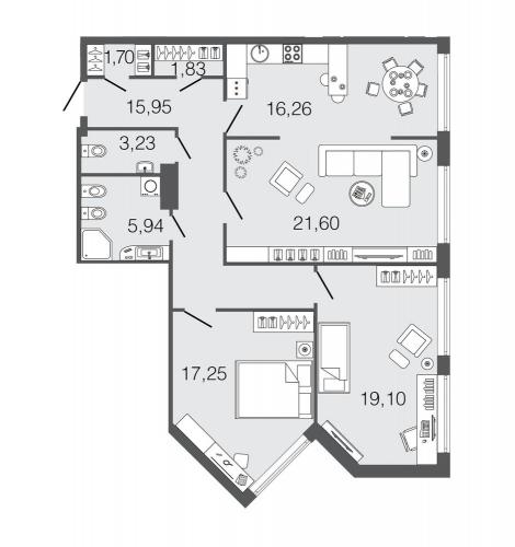 3-комнатная квартира на продажу (102,8 м<sup>2</sup>)