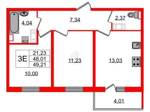 2-комнатная квартира на продажу (49,2 м<sup>2</sup>)