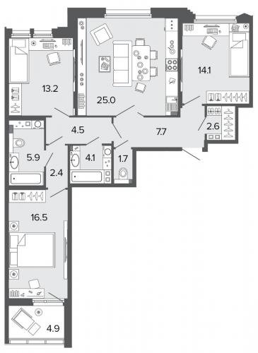 3-комнатная квартира на продажу (97,7 м<sup>2</sup>)