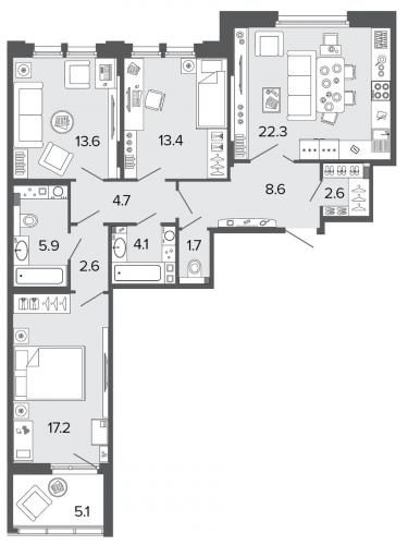 3-комнатная квартира на продажу (96,8 м<sup>2</sup>)