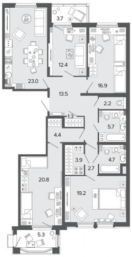 4-комнатная квартира на продажу (130,7 м<sup>2</sup>)
