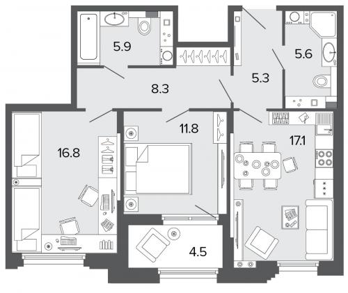 2-комнатная квартира на продажу (70,9 м<sup>2</sup>)