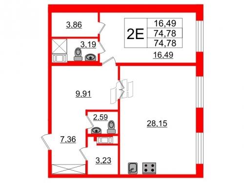 1-комнатная квартира на продажу (74,8 м<sup>2</sup>)