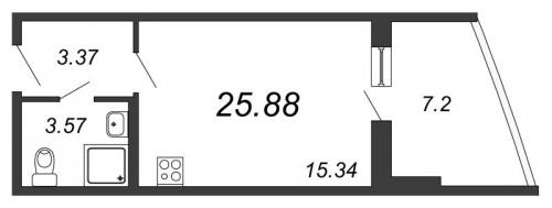 Студия на продажу (25,9 м<sup>2</sup>)