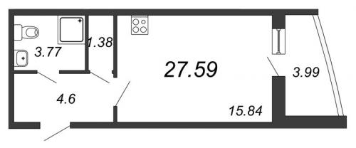 Студия на продажу (27,6 м<sup>2</sup>)