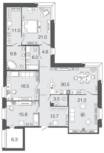 4-комнатная квартира на продажу (154,8 м<sup>2</sup>)