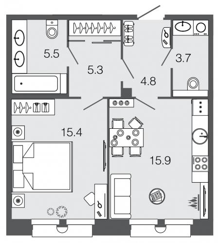 1-комнатная квартира на продажу (50,6 м<sup>2</sup>)