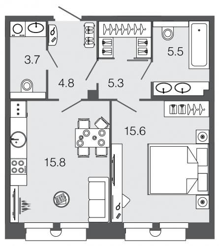 1-комнатная квартира на продажу (50,7 м<sup>2</sup>)