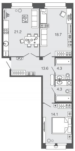 2-комнатная квартира на продажу (76,2 м<sup>2</sup>)