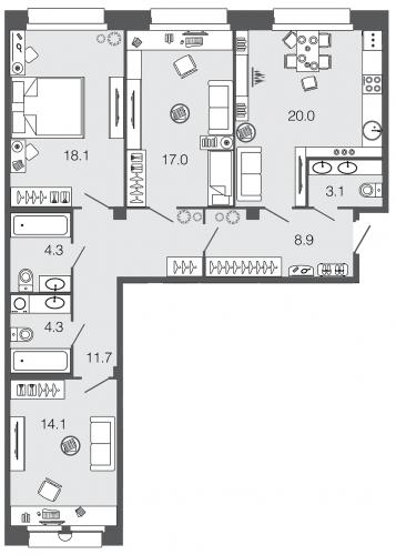 3-комнатная квартира на продажу (101,5 м<sup>2</sup>)