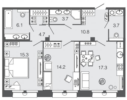 2-комнатная квартира на продажу (75,8 м<sup>2</sup>)