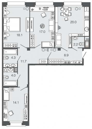 3-комнатная квартира на продажу (100,3 м<sup>2</sup>)