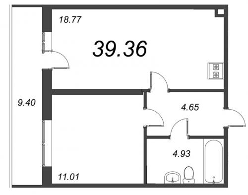 2-комнатная квартира на продажу (39,4 м<sup>2</sup>)