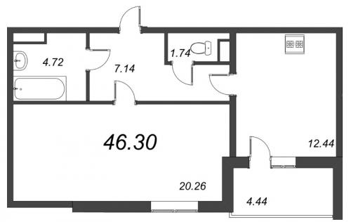 1-комнатная квартира на продажу (46,3 м<sup>2</sup>)