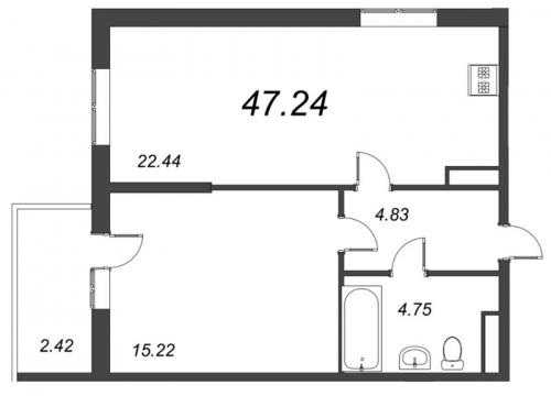 2-комнатная квартира на продажу (47,2 м<sup>2</sup>)