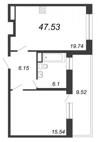 2-комнатная квартира на продажу (47,5 м<sup>2</sup>)