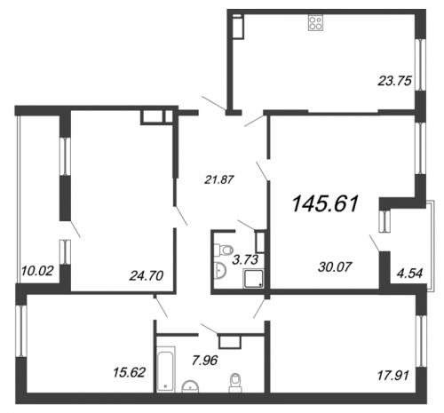 5-комнатная квартира на продажу (145,6 м<sup>2</sup>)