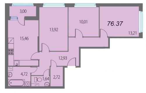 4-комнатная квартира на продажу (76,4 м<sup>2</sup>)