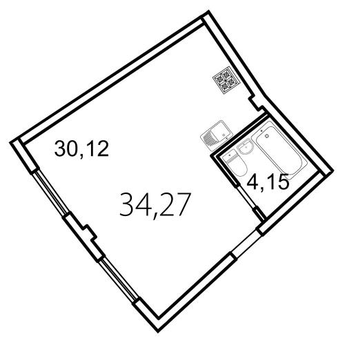 Студия на продажу (34,3 м<sup>2</sup>)