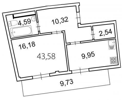 1-комнатная квартира на продажу (46,5 м<sup>2</sup>)