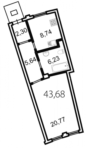 1-комнатная квартира на продажу (43,7 м<sup>2</sup>)
