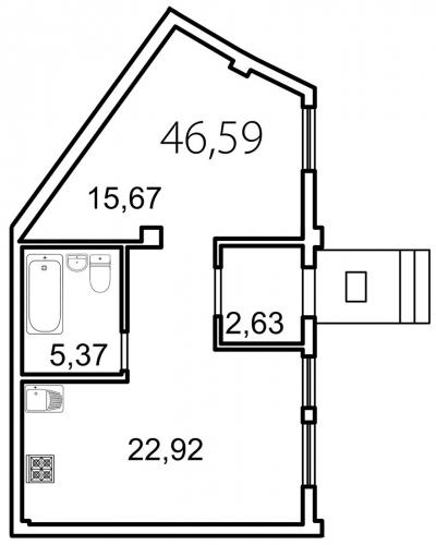 1-комнатная квартира на продажу (46,6 м<sup>2</sup>)