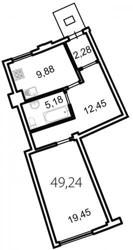 1-комнатная квартира на продажу (49,2 м<sup>2</sup>)