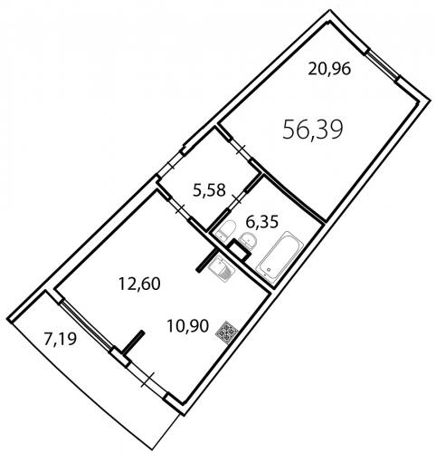 2-комнатная квартира на продажу (58,5 м<sup>2</sup>)