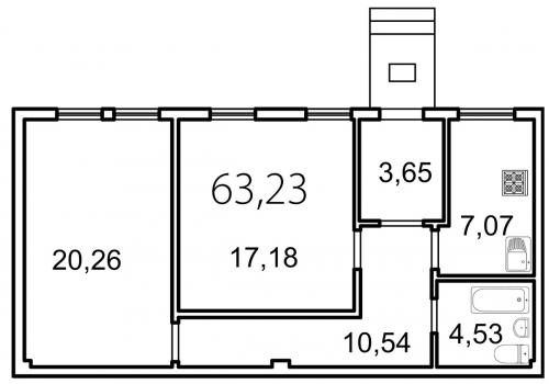 2-комнатная квартира на продажу (63,2 м<sup>2</sup>)