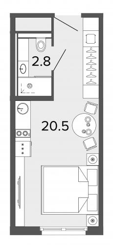 1-комнатная квартира на продажу (23,3 м<sup>2</sup>)