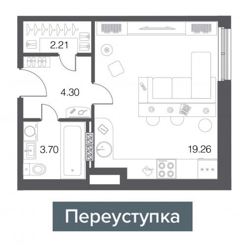 1-комнатная квартира на продажу (29,5 м<sup>2</sup>)