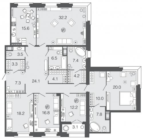 5-комнатная квартира на продажу (193,2 м<sup>2</sup>)