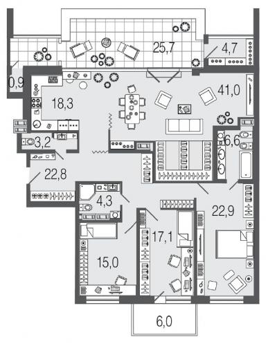 4-комнатная квартира на продажу (156,8 м<sup>2</sup>)