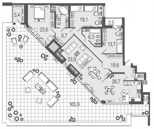 4-комнатная квартира на продажу (163,2 м<sup>2</sup>)