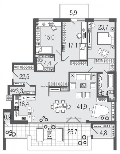 4-комнатная квартира на продажу (158,4 м<sup>2</sup>)