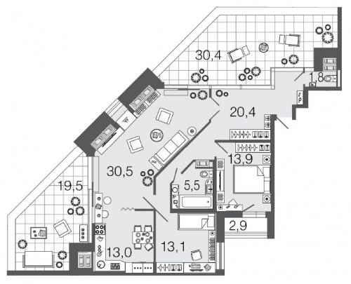 3-комнатная квартира на продажу (98,2 м<sup>2</sup>)