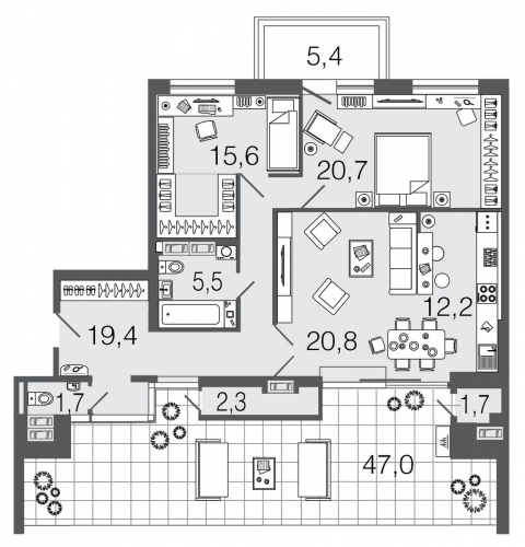 3-комнатная квартира на продажу (99,9 м<sup>2</sup>)