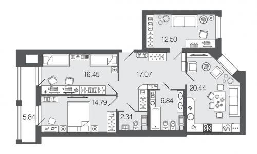 3-комнатная квартира на продажу (90,4 м<sup>2</sup>)