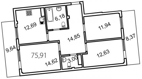 3-комнатная квартира на продажу (81,3 м<sup>2</sup>)
