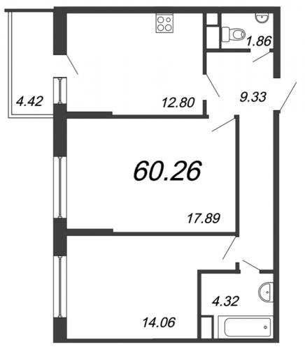 2-комнатная квартира на продажу (60,3 м<sup>2</sup>)