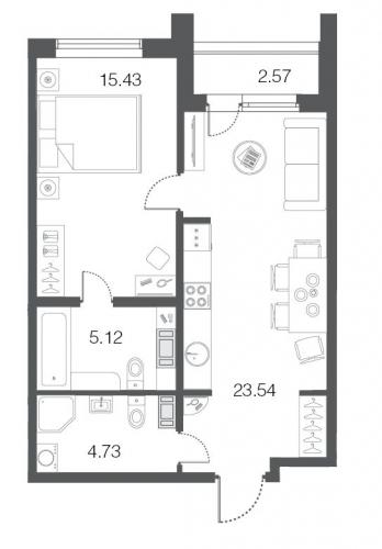 1-комнатная квартира на продажу (48,7 м<sup>2</sup>)